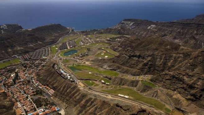 Una vista aérea de un complejo turístico en las Islas Canarias.
