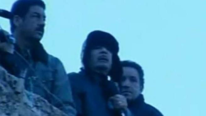 Gadafi se dirige a los libios este 25 de febrero.