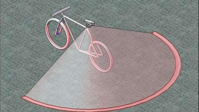 Recreación de cómo funcionaría el 'light-bike' en carretera.
