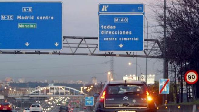 Vista de la carretera de A Coruña en sentido entrada a Madrid.