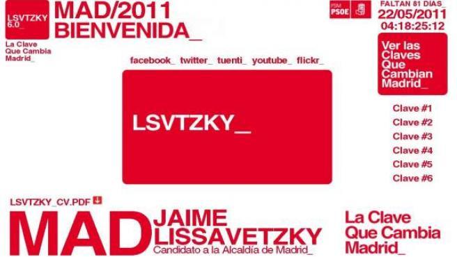 Así es la nueva web de Jaime Lissavetzky, candidato socialista a la Alcaldía de Madrid.