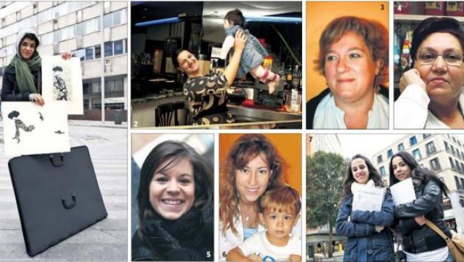 Mujeres con historia. Cristina Gayarre (1), Woniquese Seron (2), Alicia Vicente (3), Elvira Quintero (4), Lourdes Pérez (5), Inmaculada Poyato (6), María Bonet y Ana Matías (7).