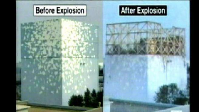 Imagen capturada este martes de la cadena de televisión ABC, en la que se observa el daño producido por una explosión en Fukushima, al comparar el antes y el después de la central.