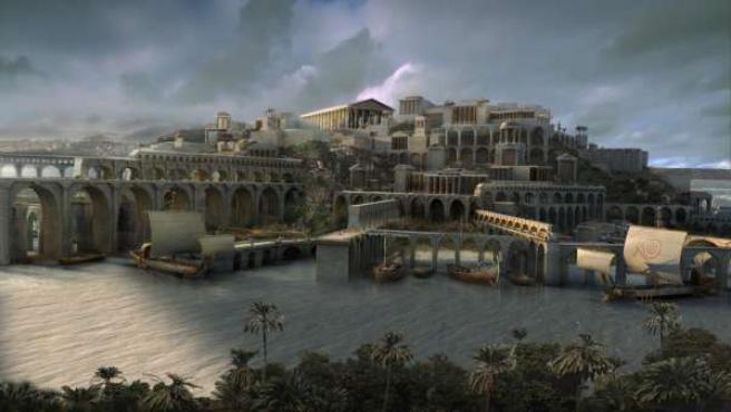 Imagen que representa la Atlántida, el paraíso perdido que describió el filósofo griego Platón.
