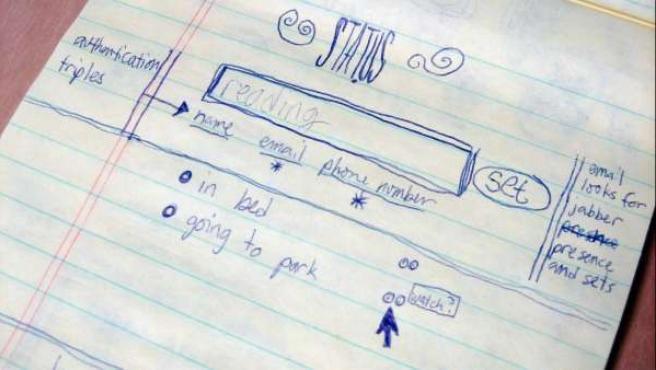 Esbozo del interfaz de Twitter en 2006 por Jack Dorsey.