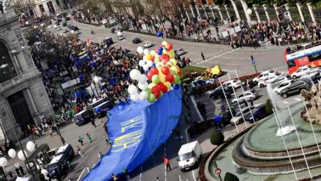 Vista aérea de la manifestación en Madrid convocada por numerosas organizaciones provida para celebrar el Día Internacional de la Vida.