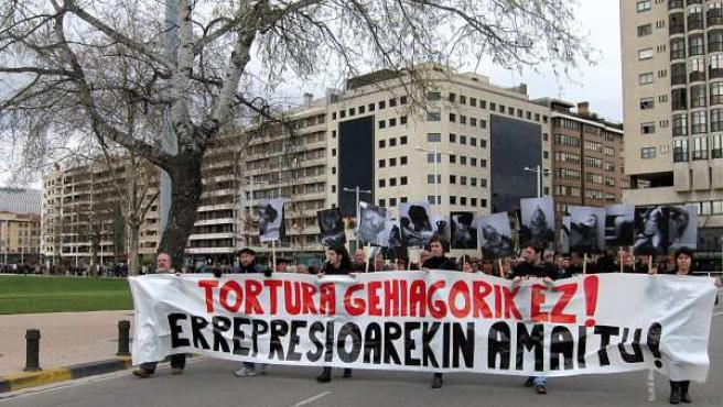 Manifestación contra la tortura en Pamplona.