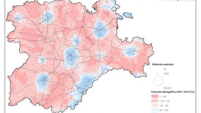 Mapa sobre la evolución de la población en Castilla y León