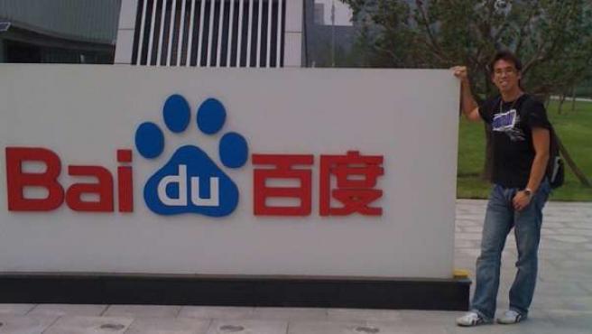 Letrero con el logotipo de Baidu.