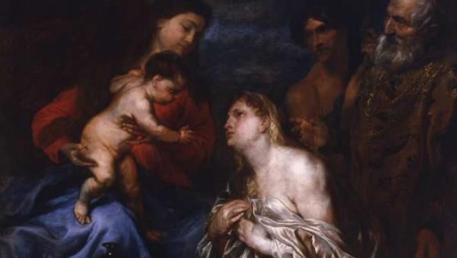 'La Virgen y el Niño con los pecadores arrepentidos', la obra restaurada de Van