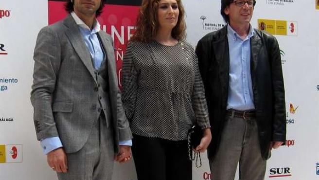 Estrella Morente, Javier Conde y el director de 'Morente. El barbero de Picasso'