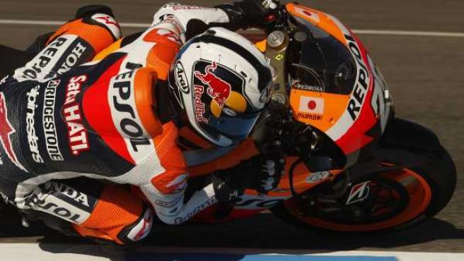 Dani Pedrosa, piloto de Honda, durante los entrenamientos del Gran Premio de España en Jerez.