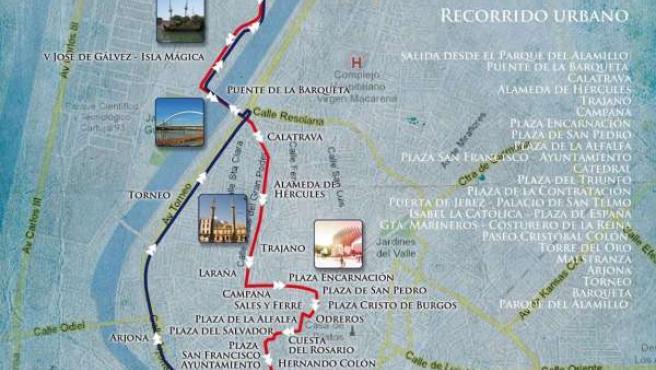 Cartel del recorrido urbano del VI Raid Kaliber Andalucía