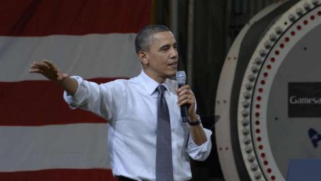Obama en una planta de Gamesa