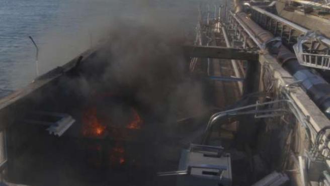 Un incendio en uno de los reactores de Fukushima.