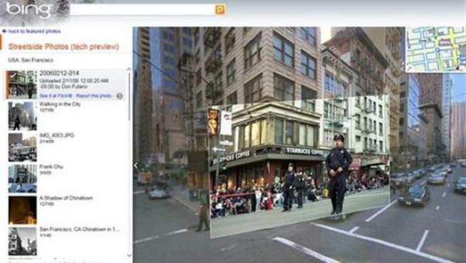 El servicio de mapas Bing Streetside.