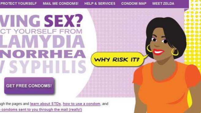Web donde los menores de Philadelphia pueden pedir condones gratis.
