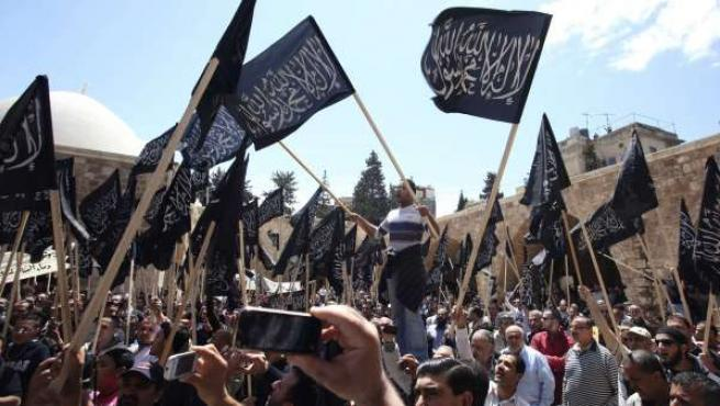 Manifestaciones en Damasco, capital de Siria.