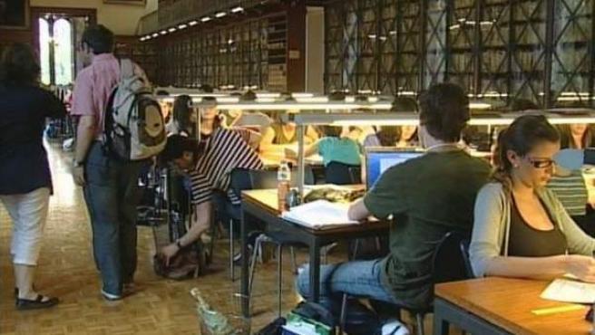 Unos jóvenes estudian en una biblioteca pública.