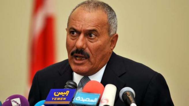 El presidente yemení Ali Abdullah Saleh, durante una rueda de prensa.