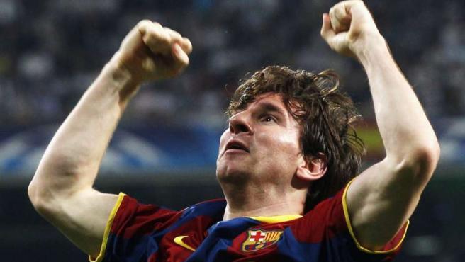 Messi celebra el segundo gol en el Bernabéu.