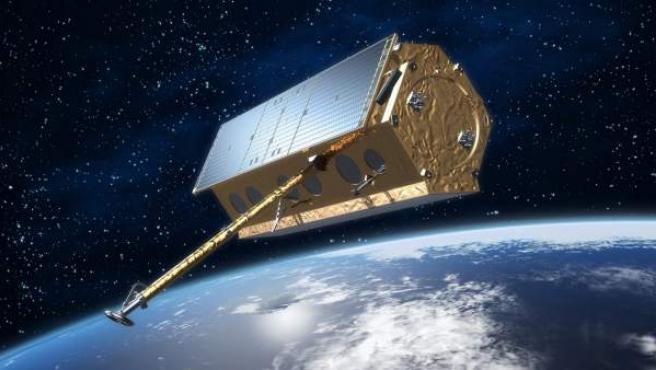 """Imagen facilitada por la ESA del satélite Paz, un vehículo espacial que cada hora y media dará una vuelta a la Tierra y que los expertos comparan con un """"murciélago""""."""
