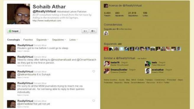 Perfil en Twitter del internauta que tuiteó en directo el ataque contra Bin Laden sin saberlo.