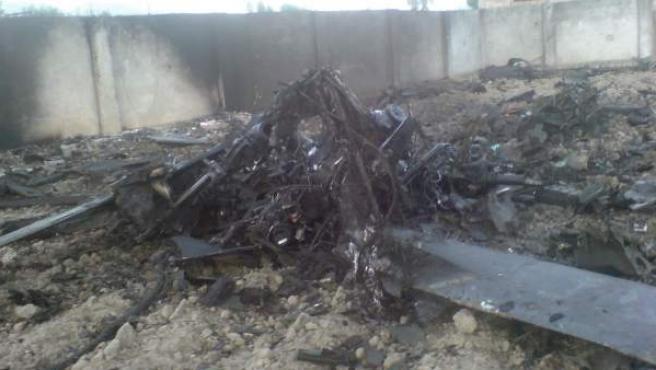 Restos de uno de los aparatos usados en la operación que acabó con la vida de Osama bin Laden.