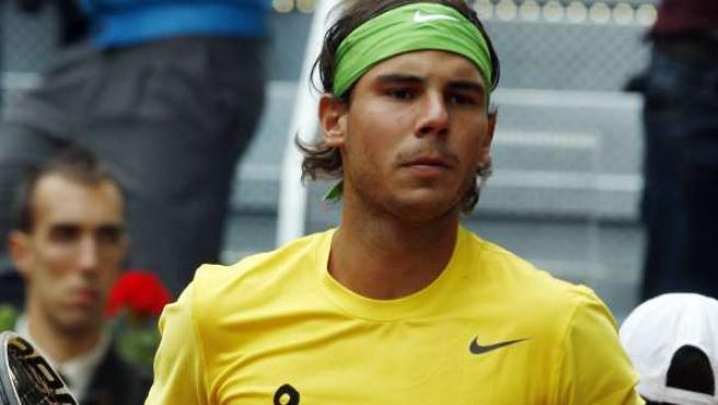 Rafa Nadal durante el partido ante Roger Federer en el Masters 1.000 de Madrid.