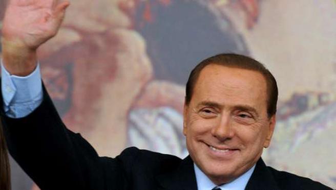 El primer ministro italiano, Silvio Berlusconi, durante una comparecencia pública en Roma.