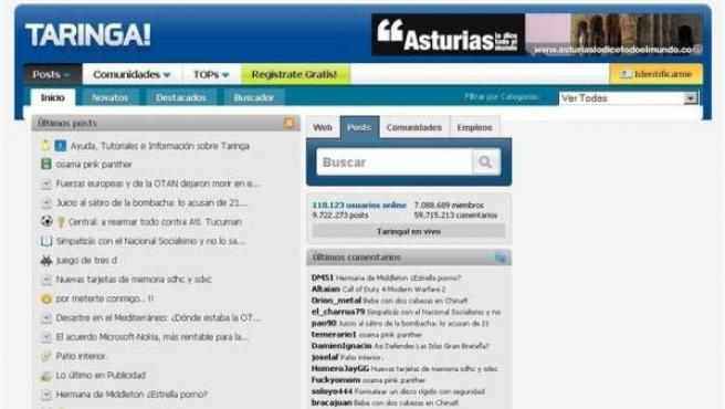 La página web Taringa.