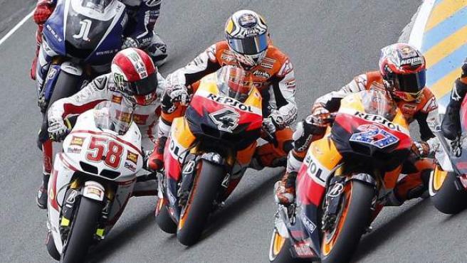 Un momento de la carrera de Moto GP en Francia.