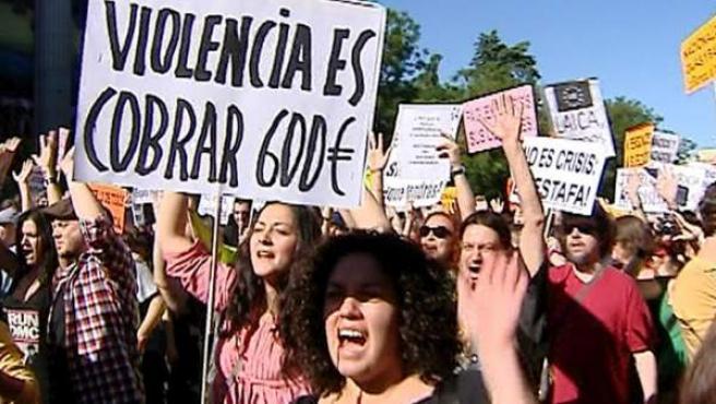 Manifestación de democraciarealya en Madrid.