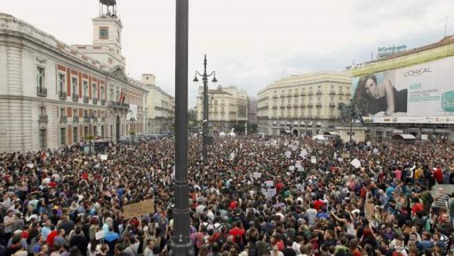 Vista general de la concentración en la Puerta del Sol.