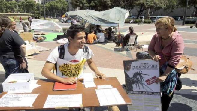 """Acampada de """"indignados' en Barcelona."""