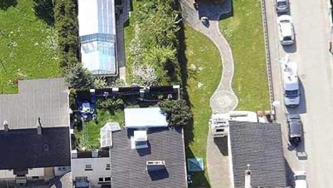 Vista aérea de la casa de Josef Fritzl en Amstetten.