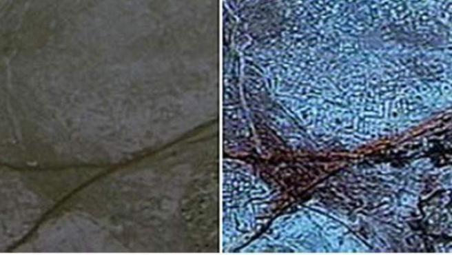 Una de las imágenes tomadas por satélite en la que se puede ver una pirámide enterrada.