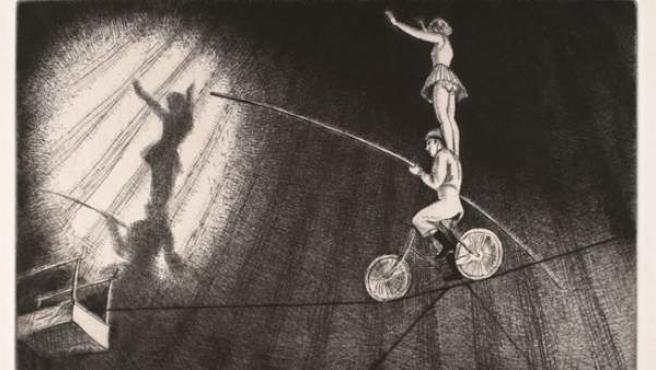 Grabado circense de Laura Knight