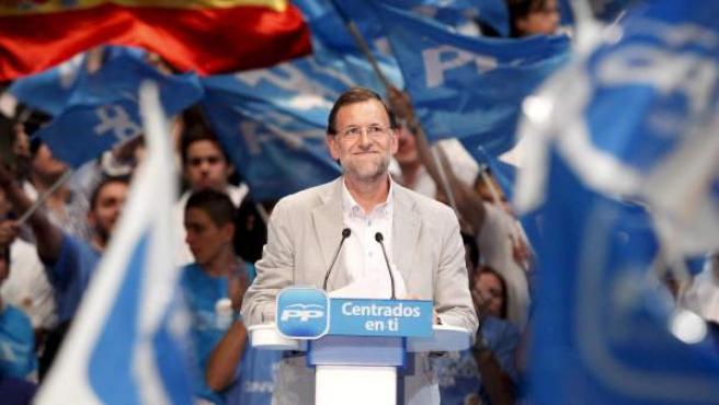 Mariano Rajoy, en un mitin en la campaña electoral.