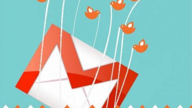 Ilustración que muestra a los pajarillos de Twitter llevándose el logo de GMail.