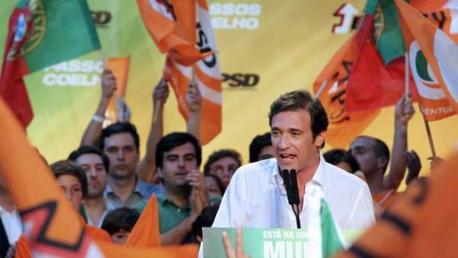 El candidato del partido socialdemócrata portugués (PSD), Pedro Passos Coelho.
