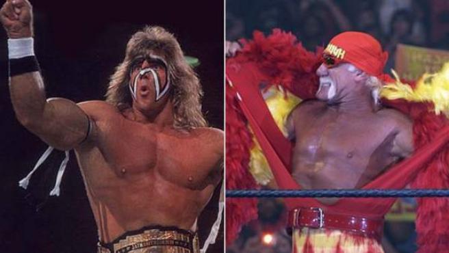 James Brian Hellwig (iz) caracterizado como 'El último guerrero' y Terry Bollea como 'Hulk Hogan'.