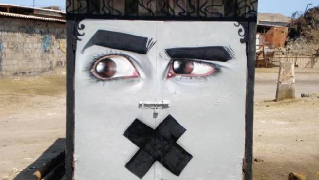 Obra creada por el artista Esec en la provincia chilena de Tocopilla