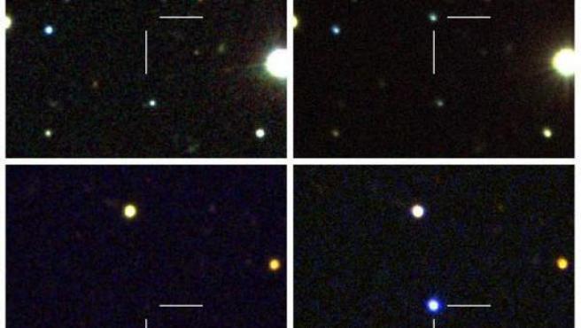 Imagen que muestra el antes y después de la explosión de una supernova muy brillante descubierta por científicos del Instituto Tecnológico de California (Caltech).
