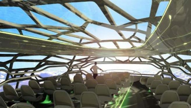 Ilustración de la cabina transparente del nuevo prototipo de avión de la compañía aeronáutica Airbus.
