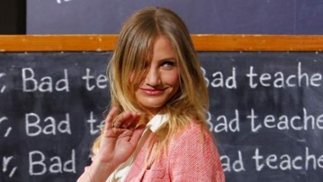 Cameron Diaz, el lunes en Madrid, en la presentación de 'Bad teacher'.