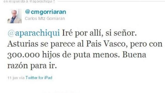 Imagen de la cuenta de Twitter de Carlos Martínez Gorriarán.