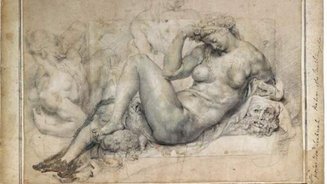Dibujo a pluma de Rubens, que 'agranda' un papel para completar el cuadro