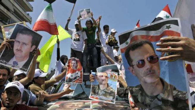 Seguidores del presidente sirio Bachar al Asad.