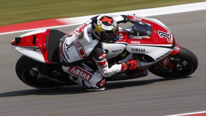 Jorge Lorenzo, piloto de Yamaha, durante el Gran Premio de Holanda.